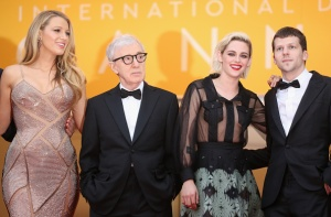"CANNES, FRANCE - MAY 11:  Actress Blake Lively, director Woody Allen, actress Kristen Stewart and actor Jesse Eisenberg attend the ""Cafe Society"" premiere and the Opening Night Gala during the 69th annual Cannes Film Festival at the Palais des Festivals on May 11, 2016 in Cannes, France.  (Photo by Andreas Rentz/Getty Images)"